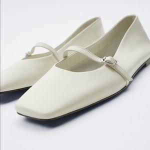 Zara leather flat shoes white Nwt 7.5